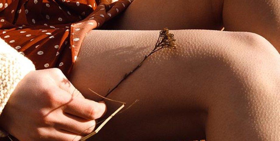 мурашки по коже, девушка, ноги, рука, цветок, фото
