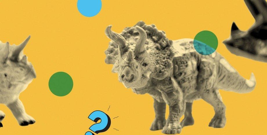 динозавр, трицератопс, желтый цвет, фото