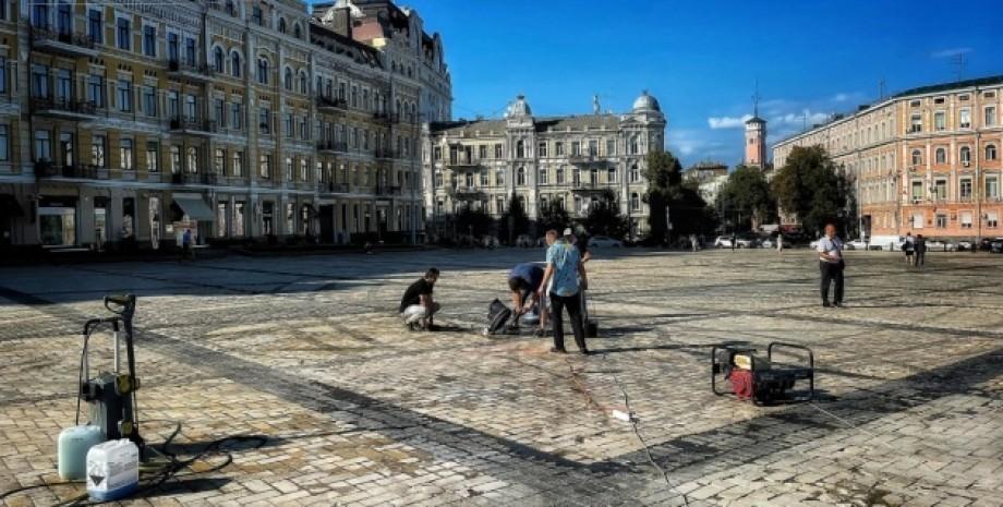 софиевская площадь, дрифт, уборка, фото