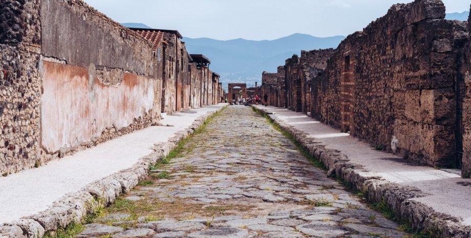 Италия, Помпеии, дорога, здания, фото