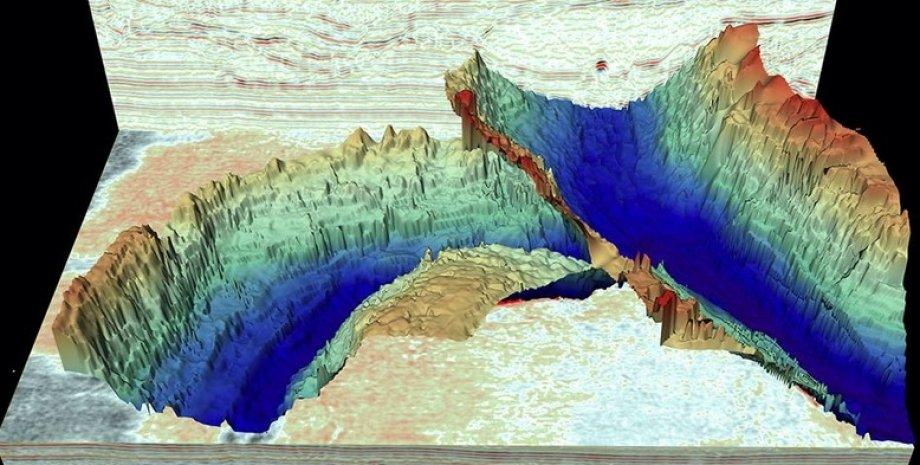 Тунельные долины сейчас скрыты  донным илом Северного моря, но их очертания видны благодаря сейсмическим данным.
