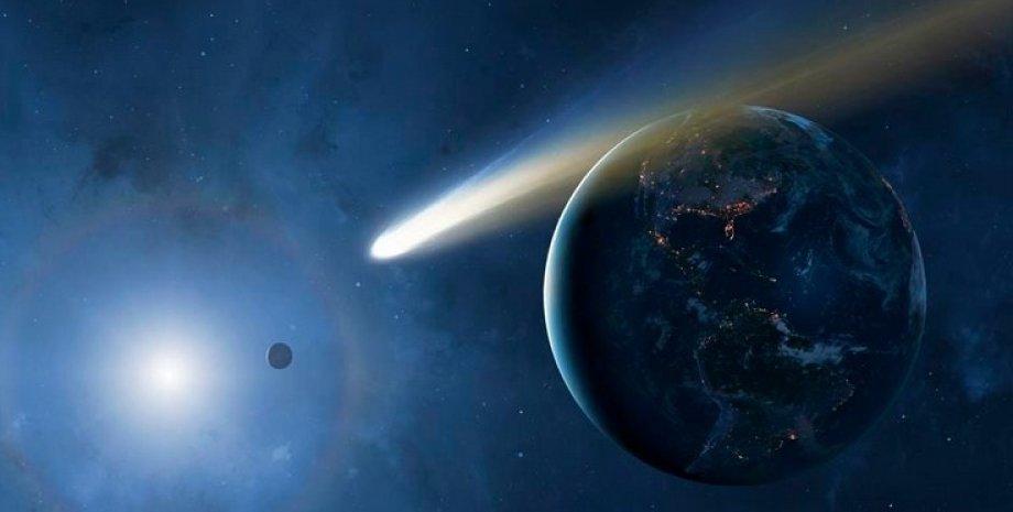 Довгоперіодична комета C/2021 A1 (Леонард). Ілюстрація.