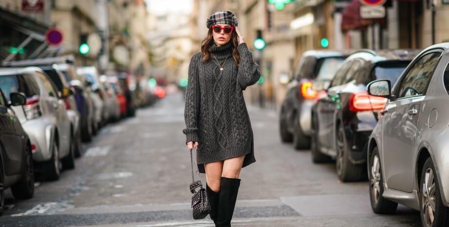 трикотажное платье-свитер, тренды осени 2021, трикотажное платье, модные тренды