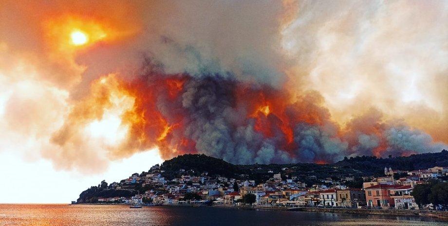 Греция, пожар, эвакуация, населенные пункты