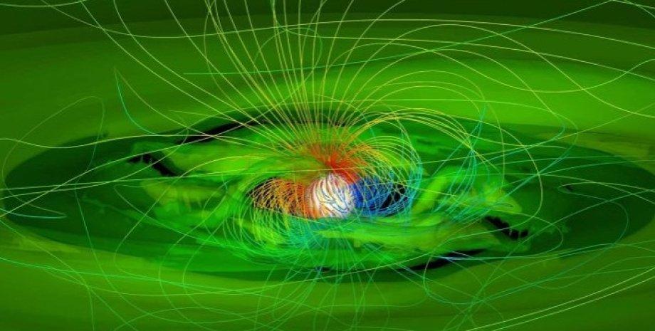 Звезда GM Aur поглощает частицы газа и пыли протопланетного диска, который представлен зеленым веществом. Иллюстрация.