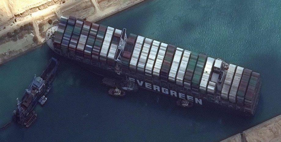 контейнеровоз, судоходство, мель, суэцкий канал, судно ever given