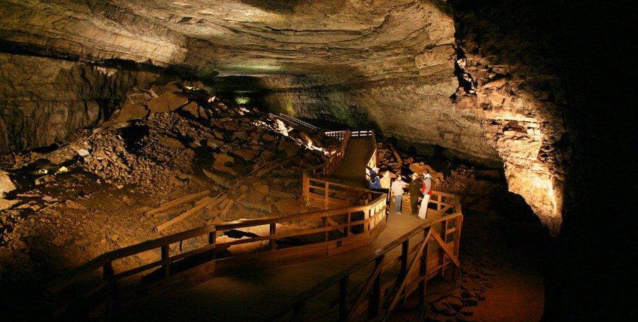 пещера, горные породы, тропа, люди, свет, фото