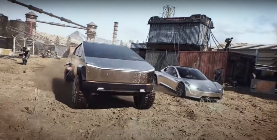 Трейлер Tesla Cybertruck и Tesla Roadster