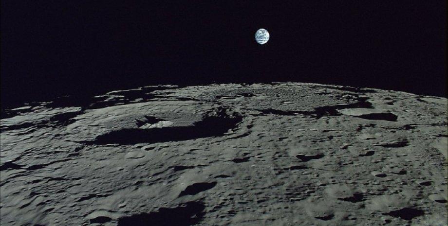 Луна, поверхность спутника, Земля, космос, фото