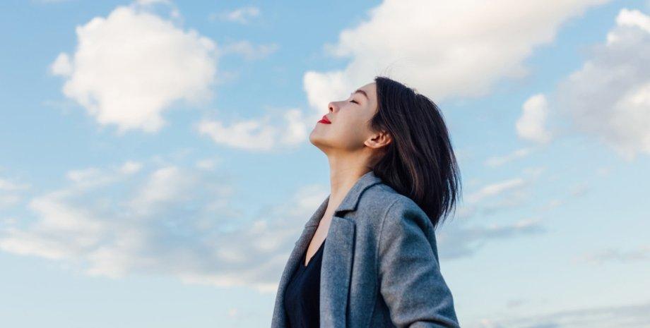 девушка, небо, облака, фото