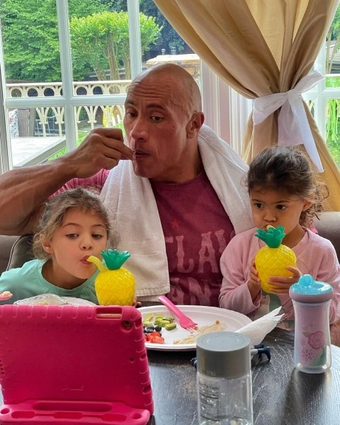 """Duane """"Rock"""" Johnson, daughters"""