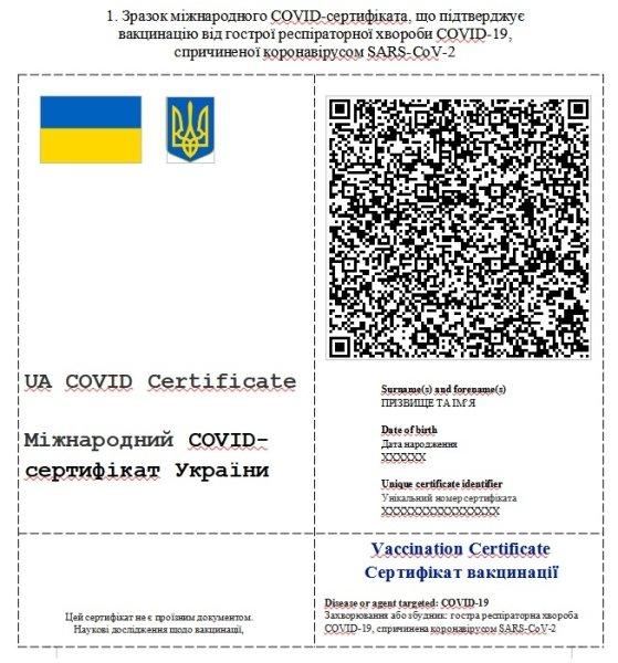 образец, ковидный сертификат